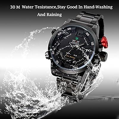 Waterproof Mens Watch,Hosamtel Multi Function Quartz Mens Military Sport Wrist LED Watch,Black White