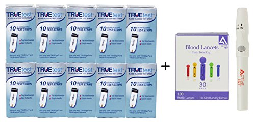 TrueTest Test Strips, 100 Count + 100 30g Lancets + Lancing Device
