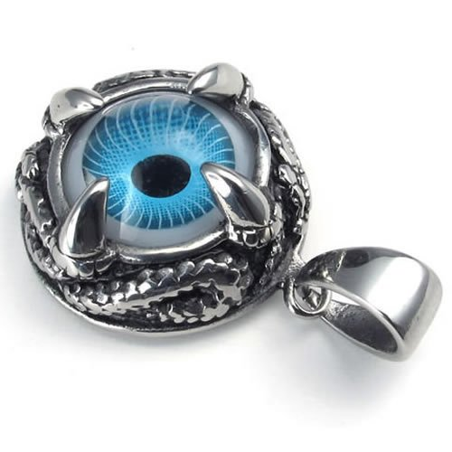 24″ KONOV Jewelry Stainless Steel Dragon Claw Blue Devil Eye Pendant Mens Necklace, 24 inch Chain