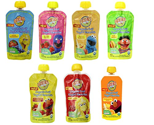 Earth's Best Organic Sesame Street Fruit and Yogurt Smoothies 7 Flavor Variety Pack (Pack of 7)