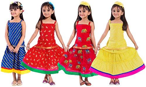 Archiecs Creations Beautiful Lehenga Choli Combo Set For Girls (Set of 4)