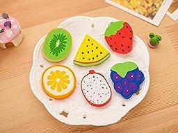 3Pcs/Creative Kawaii Watermelon Strawberry Orange Rubber Pencil Eraser For Kids Novelty Item School Supplies (Random)