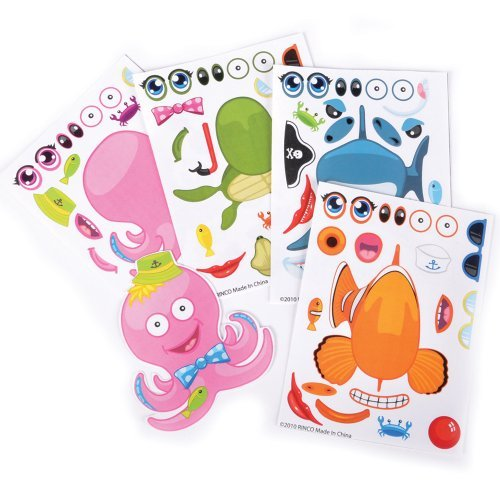 ~ 12 ~ Make-a-Sea Ocean Animal Fish Sticker Sheets ~ New - 1