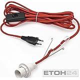 Konstsmide 2998-550 Câble d'Alimentation avec Interrupteur pour Étoile en Papier Douille E14 Rouge