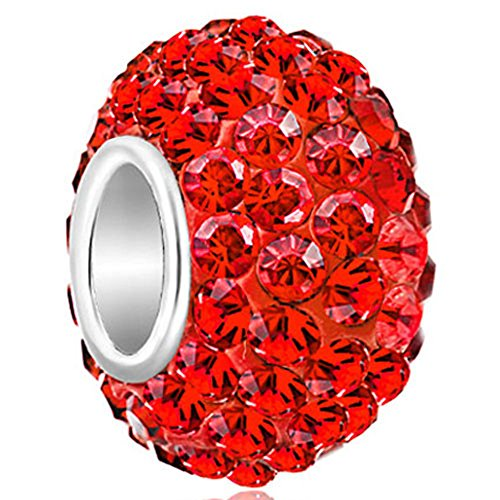 CharmsStory 925 Sterling Silver Red Birthstone Charms Swarovski Elements Crystal Sale Bead Fit Pandora Chamilia Bracelet (Pandora Red Beads compare prices)