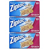Ziploc Snack Bag Value Pack, 100 Count (Pack Of 3)