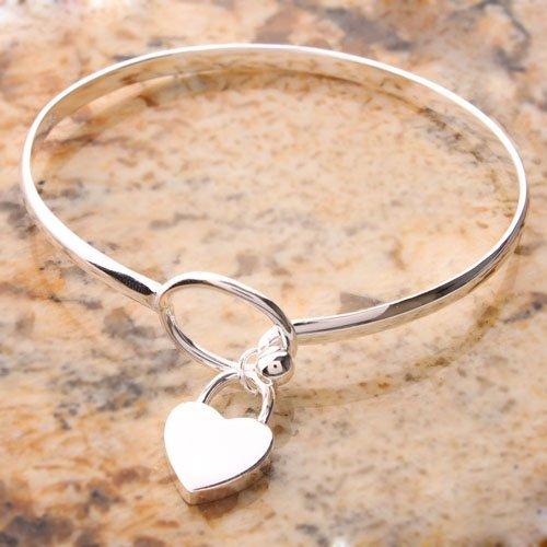 Charming Peach Heart Bangle Bracelet 625 Sterling Silver Ddstore