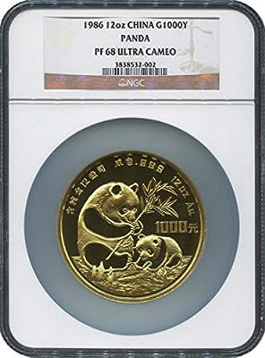 1986 CN Panda 1000 Yuan PF 68 NGC