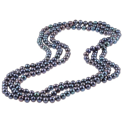 Black Freshwater Pearl 72-inch Endless Necklace (7-7.5 mm)