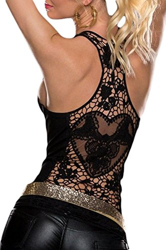 Sidefeel Women Crochet Hollow Out Lace Back Tank Top Clubwear Small Black (Tops With Lace compare prices)
