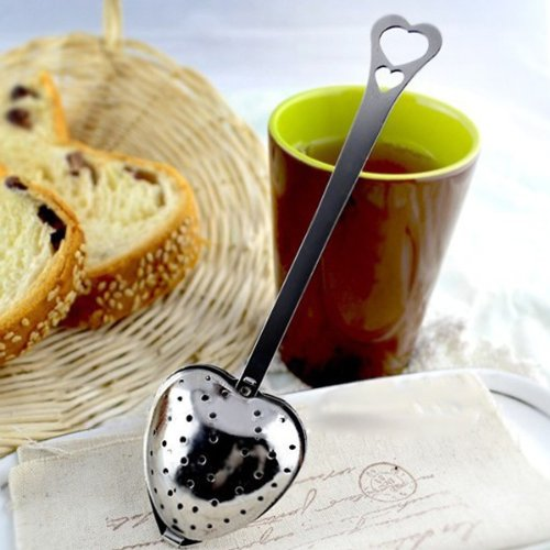 Stainless Steel Heart Tea Stainer Infuser Leaf Filter With Handle