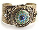 Ollipop Retro Gold Plated Blue Green Rosette Cuff Bracelet