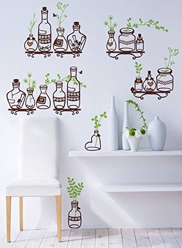 Pop Decors Vinyl Art Wall Decals Mural for Nursery Room, Plants In The Bottle Removable Dark Brown