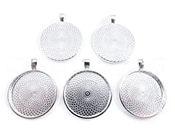 20 CleverDelights Round Pendant Trays - Shimmering Silver Color - 25mm 1\