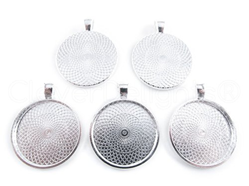20-cleverdelights-round-pendant-trays-shimmering-silver-color-25mm-1-diameter-pendant-blanks-cameo-b