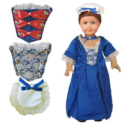 "Gala Christmas Holiday Gown Dress With Stomacher & Pinner Hat Set Outfit Fits American Girl 18"" Doll Felicity Elizabeth"