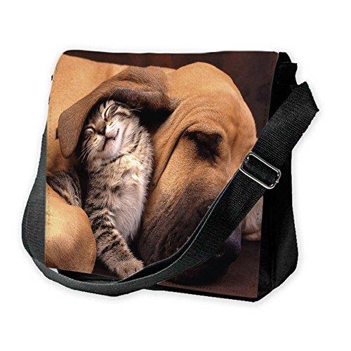 Cani 10015, Cane e Gatto, Unisex Nero Sublimazione Borsa a tracolla Reporter Bag con Spallacci regolabili e Motivo Colorato.Dimensione:Grande-28x28x11cm