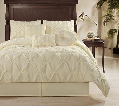 Fresh Chezmoi Collection Sydney piece Pintuck Comforter Set Full Size Vanilla Cream