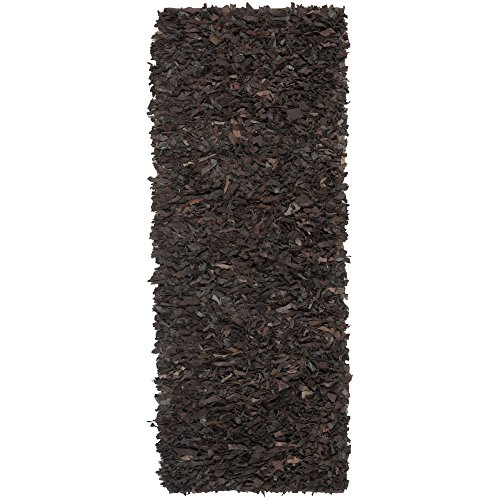 Safavieh Leather Shag Collection LSG421D Hand Woven Dark Brown Leather Runner, 2 feet 3 inches by 6 feet (2'3