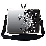 15 15.6 inch Gray Black Swirl Design Laptop Sleeve Bag Carrying Case with Hidden Handle & Adjustable Shoulder Strap for 14