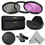 58MM Professional Lens Filter Accessory Kit for CANON EOS Rebel T5i T4i T3i T3 T2i T1i XT XTi XSi SL1 DSLR Cameras - Includes Vivitar Filter Kit (UV, CPL, FLD) + Carry Pouch + Tulip Lens Hood + Snap-On Lens Cap w/ Cap Keeper Leash + MagicFiber Microfiber Lens Cleaning Cloth