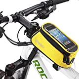 Outdoor Waterproof Cycling Bicycle Bag MTB Bike Frame Tube Panniers Touchscreen Phone Case Reflective Bags-Yellow