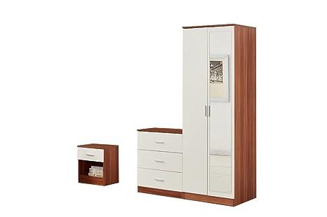 yakoebedroom Set di mobili, con 2ante, legno, noce/bianco, 3pezzi