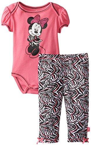 Disney Baby Girls Newborn Minnie Mouse Bodysuit And Pant Set- Zebra Print, Pink, 3-6 Months front-742810