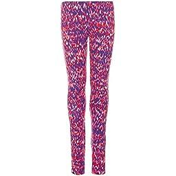Nike Big Girls\' (7-16) Leg A See Allover Printed Tights-Electro Orange/Purple-Small