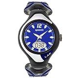 Speedo Men's Black and Blue Ani-Digi Lap Counter Swim Watch SD55144