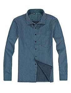 Men Vertical Stripes Button Down Long Sleeve Casual Shirt