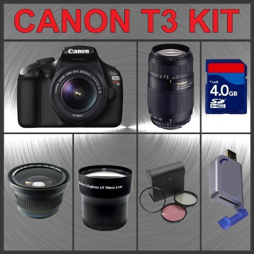 Canon EOS Rebel T3 EOS 1100D 12.2MP Digital Camera with EF-S 18-55mm IS II Lens + Tamron AF 75-300mm f/4.0-5.6 LD for Canon Digital SLR Cameras + 4GB Memory Card + Wide Angle Lens with Macro Extension + Telephoto Digital Conversion Lens + Lens Filter Kit