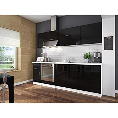 City cuisine complete 2m40 - noir laqué haute brillance