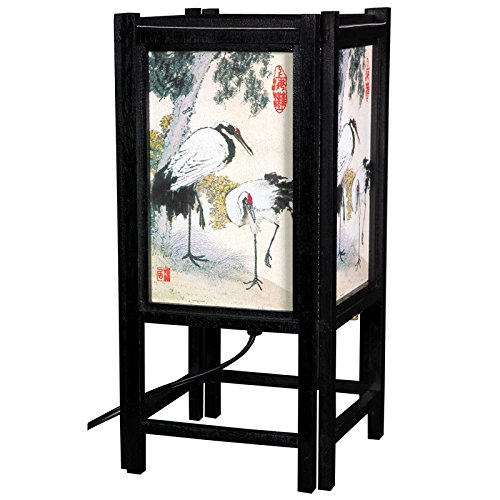 Oriental Furniture Nicest Gift Ideas Under 50 Dollars, 14-Inch Landscape Art Japanese Wood And Paper Electric Lantern/Lamp