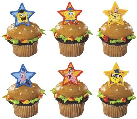 DecoPac SpongeBob Graduation Friends Cupcake Rings (12 Count)