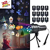 LED Projector Lights for Holiday Decoration,LED Projection Flashlight with 12 Slides,Auto Rotating Decoration Light for Christmas,Halloween,Easter,Home Party,Birthday,Kids Gift