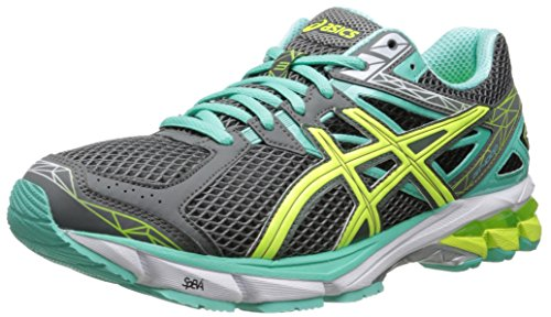ASICS Women's GT-1000 3 Running Shoe, Charcoal/Flash Yellow/Mint, 8 D US