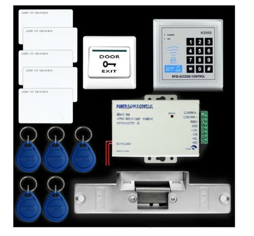Inercom (Tm) Full Complete Rfid Door Access Control Kit Set With Electric Strike Lock New Power Supply +Electric Strike Lock +5 Id Cards +5 Id Keyfobs +Exit Button