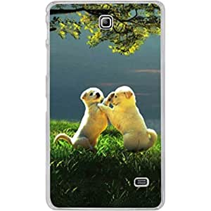 Casotec Puppy Couple Play Kids Nature Design 2D Hard Back Case Cover for Samsung Galaxy Tab 4 7 inch - Clear