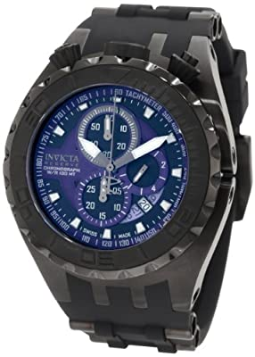 Invicta Men's 0891 Reserve Chronograph Blue and Black Dial Black Polyurethane Watch