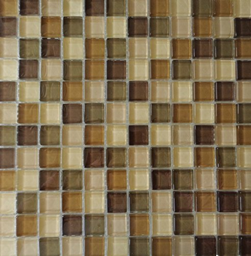 ICJ 99033 12-Inch by 12-Inch Glass Mosaic Wall Tile