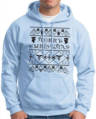 Ugly Christmas Sweater For Vet Techs Premium Hoodie Sweatshirt Medium Light Blue