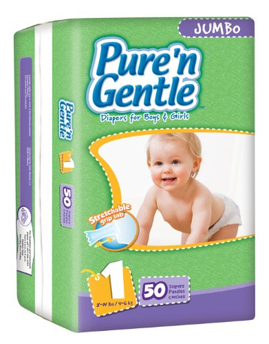 Pure 'n Gentle Ultra Diapers with Stretch Hook & Loop Closure System, Small Size 1, 8-14 Pounds, 50 Count Pack Bag (Pack of 4)