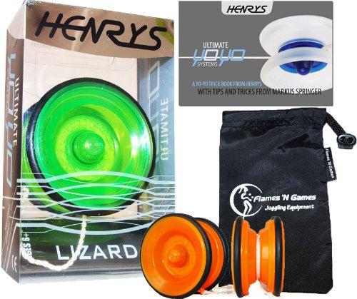 Henrys LIZARD YoYo (Grun) Professionelle Entry-Level-YoYo + Lehr-Broschüre von Tricks + Stoff Reisetasche! Große Pro YoYo für Kinder und Erwachsene! AXYS-Systemachse Slider mit High-Speed-Lager.