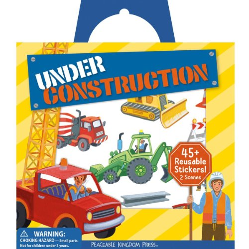 Peaceable Kingdom / Sticker Fun! Under Construction Reusable Sticker Tote front-510479