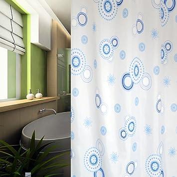 Textile rideau de douche 240x200 240x200 cercles bleu bagues de douche douche - Rideau de douche textile ...