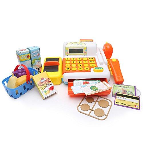 Wishtime Jouet Caisse Enregistreuse électronique avec Scanner Papier et Monnaie pour Enfant