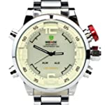 Weide Mens White Dial Dual Time Displ...