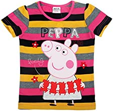 peppa pig Little Girls39 Long-Sleeve Embroidered Stripe Cotton T Shirts1-6Y