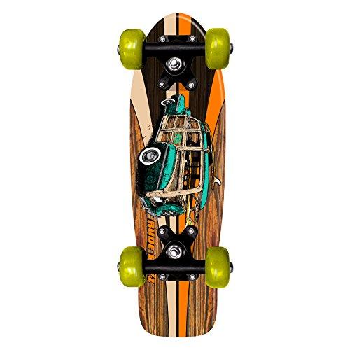 Rude Boyz 17 Inch Skateboard Mini Retro Wooden Cruiser Board Vintage Bananaboard - Car Design with Green Wheels (Deathwish Boards compare prices)